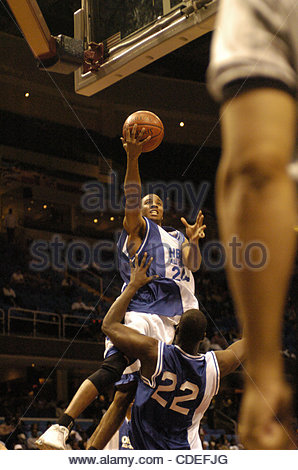 Apr. 16, 2005 - Cleveland, OH, USA - Chakawby Hicks, Tuskegee University, playing for the HBCU All-Stars drives - Stock Photo