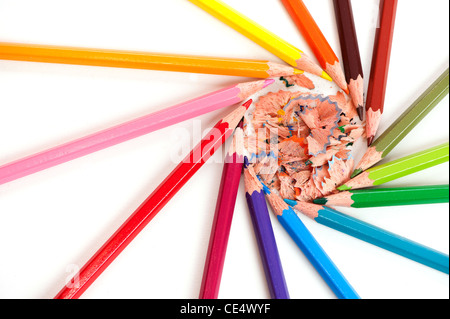circle made of color pencils on white background with crayon shavings inside - Stock Photo