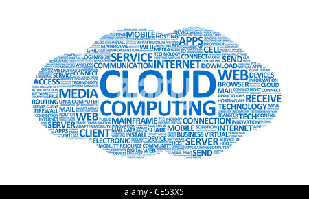 Word cloud conceptual illustration on cloud computing theme. Isolated on white. - Stock Photo
