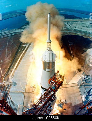 Apollo 11 Saturn V space vehicle launches from Kennedy Space Center on its way to the Moon - Stock Photo
