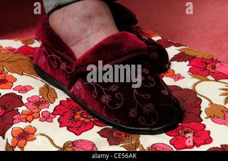 Elderly Person Wearing Slipper's . - Stock Photo