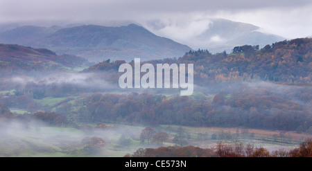 Mist lurks in the Brathay Valley near Elterwater, Lake District National Park, Cumbria, England. Autumn (November) - Stock Photo