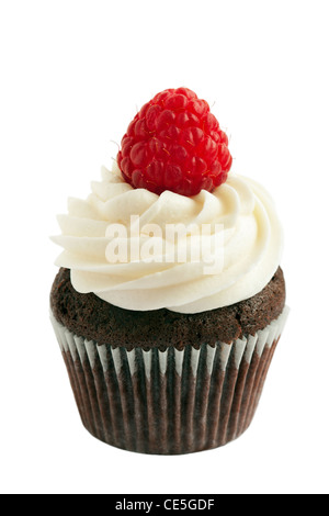 Chocolate and raspberry cupcake - Stock Photo
