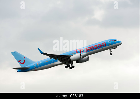 Thomson Airways Boeing 757-28A Airliner G-OOBC Taking Off From Manchester International Airport England United Kingdom - Stock Photo