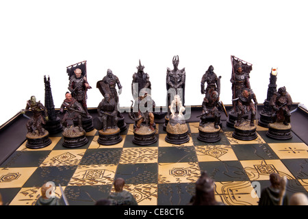 Lord Of The Rings Chess Set Figures On A White Background