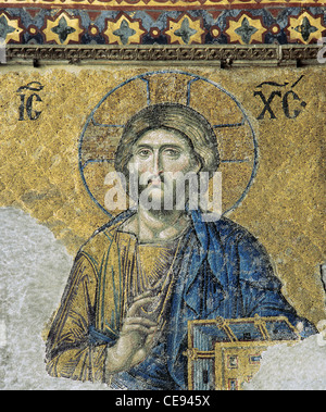 The Deesis. Detail. Jesus Christ in Majesty as if to bless. 13th century. Mosaic. Hagia Sophia. Istanbul. Turkey. - Stock Photo