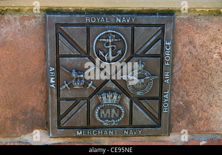 Plaque depicting the UK forces, Army, Royal Navy, Royal Air Force and the Merchant Navy - Stock Photo