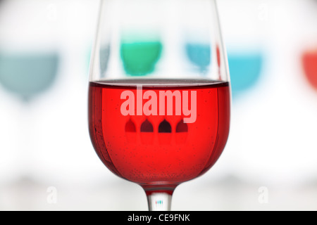 closeup of glass colored with reflection and defocus background - Stock Photo