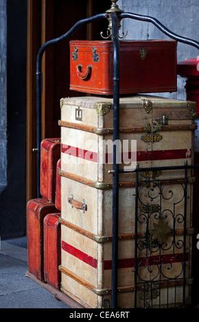 Vintage luggage on baggage trolley on film set Edinburgh Scotland UK - Stock Photo