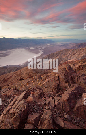 Sunset over the Badwater Salt Flats as seen from Dante's View in Death Valley National Park, California, USA - Stock Photo