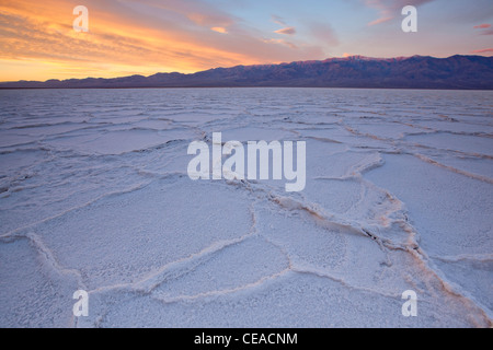 Sunrise over salt polygons and patterns at Badwater Salt Flats in Death Valley National Park, California, USA - Stock Photo
