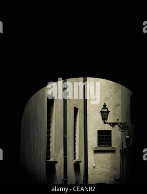 Dark alley, Italy - Stock Photo