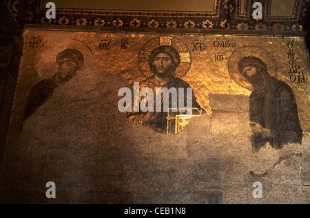 Byzantine mosaic panel inside Aya Sofya in Istanbul city Turkey - Stock Photo