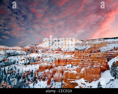 Snow and sunset in Bryce Canyon National Park, Utah - Stock Photo