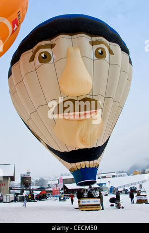 Balloons International Festival, Chateau d'Oex, Switzerland - Stock Photo