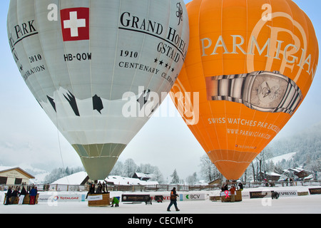 Balloons International Festival, Chateau d'Oex, Switzerland - Stock Photo