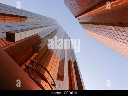 Copper-colored facades of office towers, modern architecture, Sheikh Zayed Road, Al Satwa, Dubai, United Arab Emirates - Stock Photo