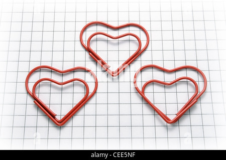 Heart shaped paper clips - Stock Photo