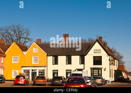 The Angel Hotel in Lavenham , Suffolk, England , Britain , Uk - Stock Photo