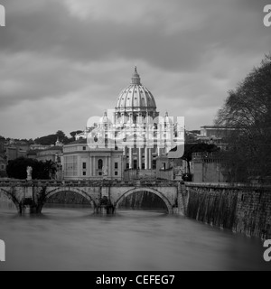 St Peter's Basilica and river - Stock Photo