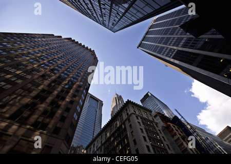 Low angle view of Manhattan skyscrapers - Stock Photo
