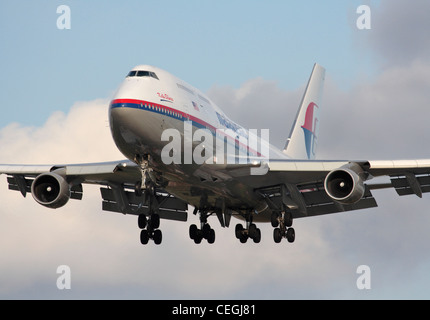 Malaysia Airlines Boeing 747-400 on arrival - Stock Photo