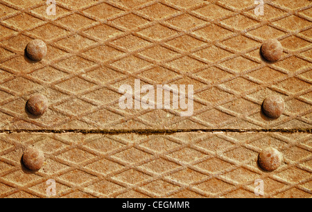 Background - the surface of the iron deck with rivets - Stock Photo
