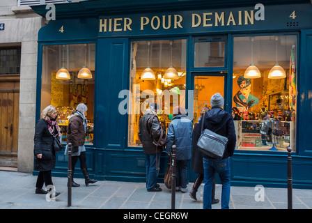 Paris, France, People in Le Marais District, Window Shopping, 'Hier Pour Demain' Vintage Housewares Shop Front, - Stock Photo