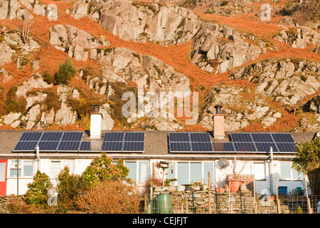 Solar Panels On Council House Roof Stock Photo Royalty