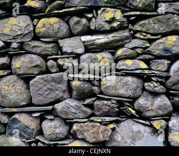 Drystone wall close-up. Newlands valley, Cumbria, England, UK. In the Lake District National park. - Stock Photo
