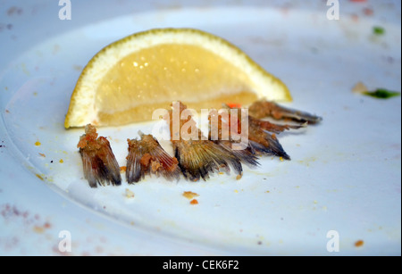 Finished lunch with just lemon and fish tails remaining - Stock Photo