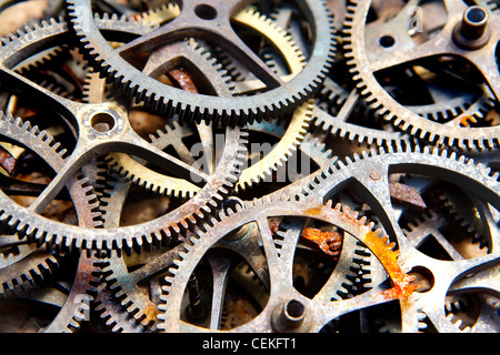 many old sprockets - parts of broken watches - Stock Photo