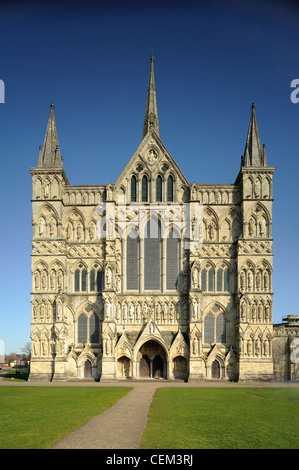 View of the West Front of Salisbury Cathedral, Wiltshire, UK - Stock Photo