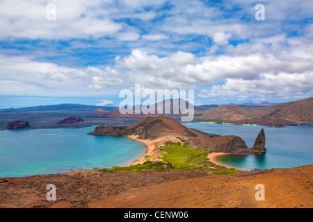 View of the pinnacle on Bartolome, Galapagos - Stock Photo