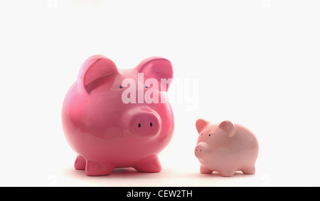 LARGE AND SMALL PIGGYBANKS RE FINANCIAL GROWTH SAVINGS THE ECONOMY BUDGETS LOANS CREDIT MONEY CASH INCOMES BANKS - Stockfoto