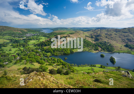 Rydal Water and Windermere in the Distance from Nab Scar. Lake District National Park. Cumbria. England. UK. - Stock Photo