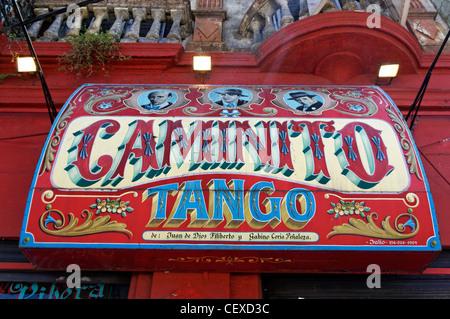 Caminoto Tango sign in La Boca, Buenos Aires, Argentina - Stockfoto