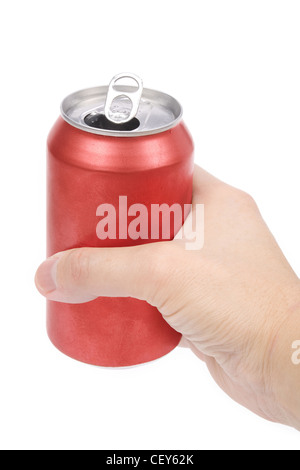 a red soda can with white background - Stock Photo