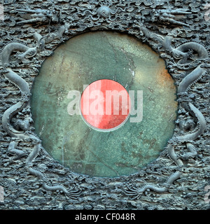Feng Shui Jade disk set in exquisitely intricately carved frame Hall Of Mental Cultivation forbidden city beijing - Stock Photo