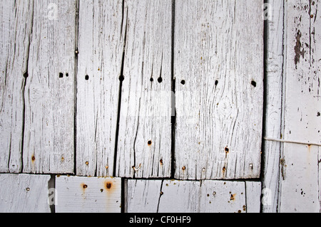 White painted wood planks - Stockfoto