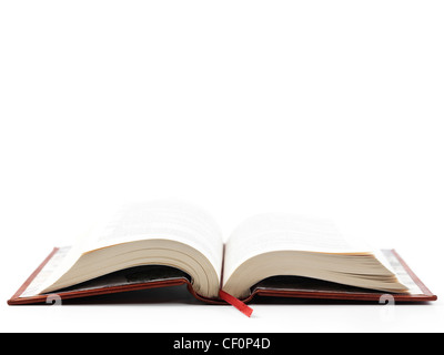 Open hardcover book isoalted on white background - Stock Photo