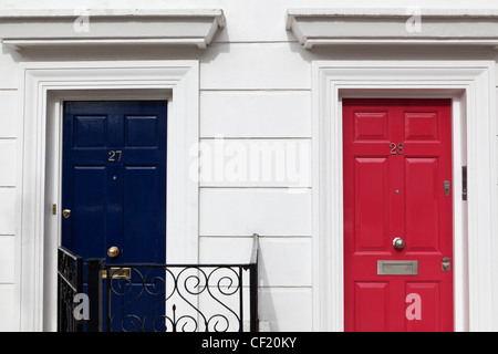 Colourful front doors of residences in Markham Square. - Stock Photo