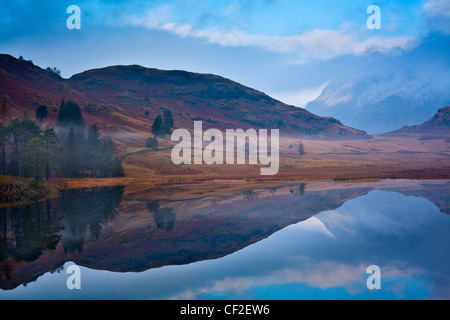 A misty dawn at Blea Tarn near Great Langdale in the Lake District. - Stock Photo