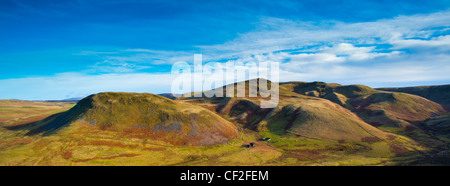 Panoramic view of Lamb Hill in the Cheviot Hills, part of the Northumberland National Park. - Stock Photo