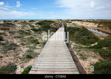 Wooden Walkway In The Dunes Near San Fernando; Andalucia Spain - Stock Photo