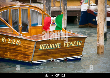 Regione Veneto motor boat moored on Grand Canal - Venice, Venezia, Italy, Europe - Stock Photo