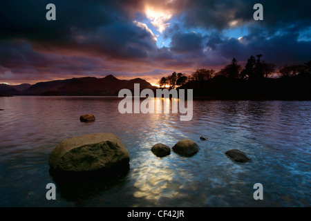 Sunset over Derwent Water in the Lake District. - Stock Photo