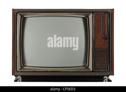 Old Vintage Television isolated on a white background and with Clipping path - Stockfoto