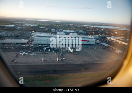 Terminal 5 at London Heathrow Airport from a plane taking off. Feb 2012 - Stock Photo