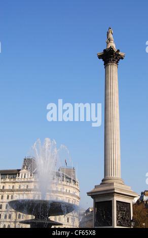 A view toward Nelson's Column in Trafalgar Square. - Stock Photo
